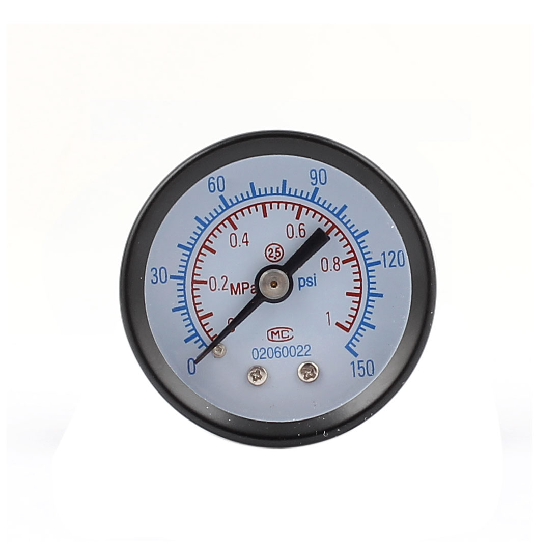 "0-150MPa 0.35"" Diameter Thread Round Dial Gaseous Air Metal Pressure Gauge"