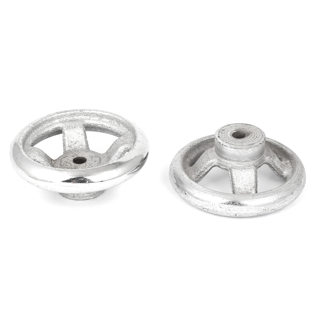 2pcs 70mm Dia Four Spoke Round Iron Hand Wheel Handwheel for Milling Machine Lathe