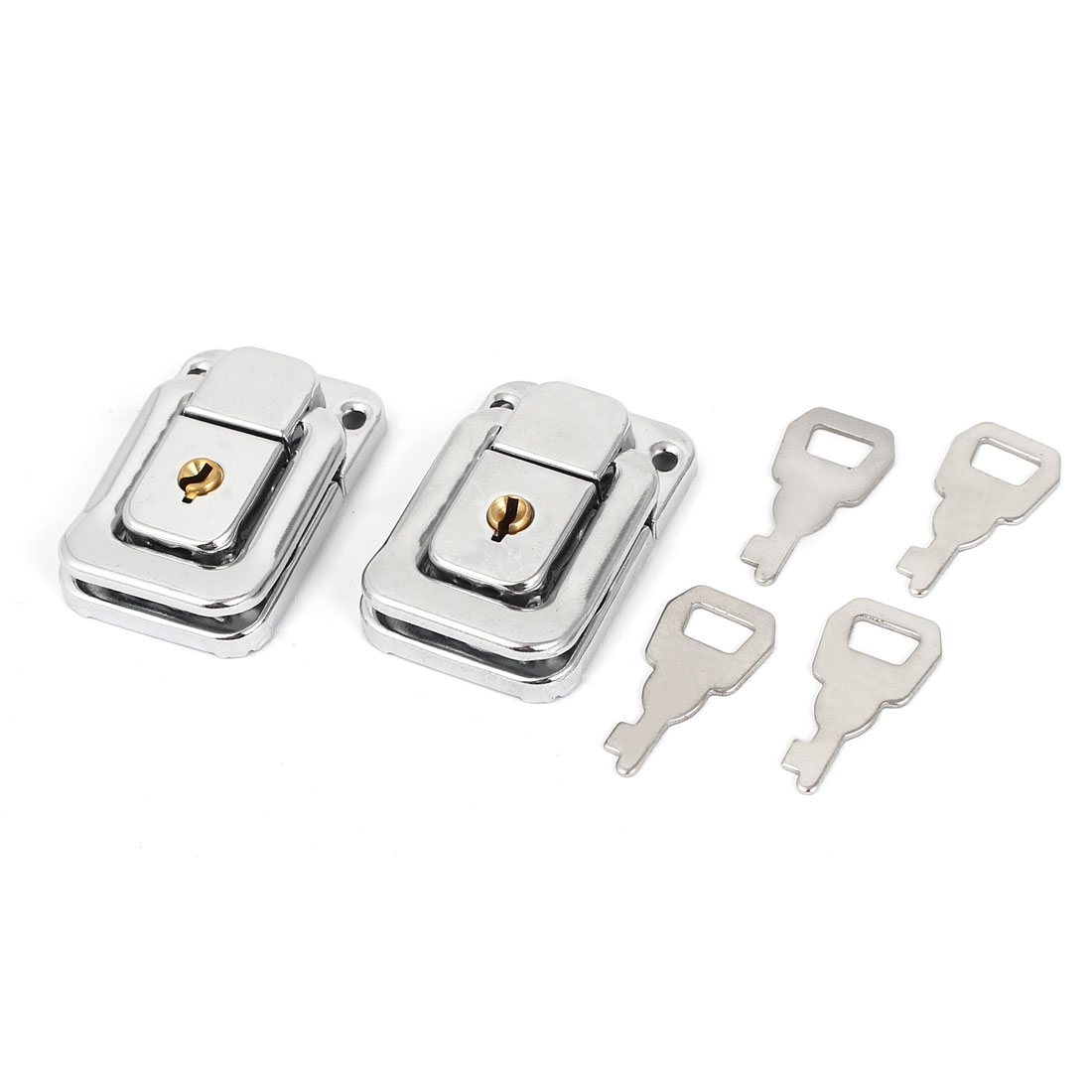 Chest Boxes Handbag Rectangle Shape Metal Clasp Lock Toggle Latch 2pcs w Keys