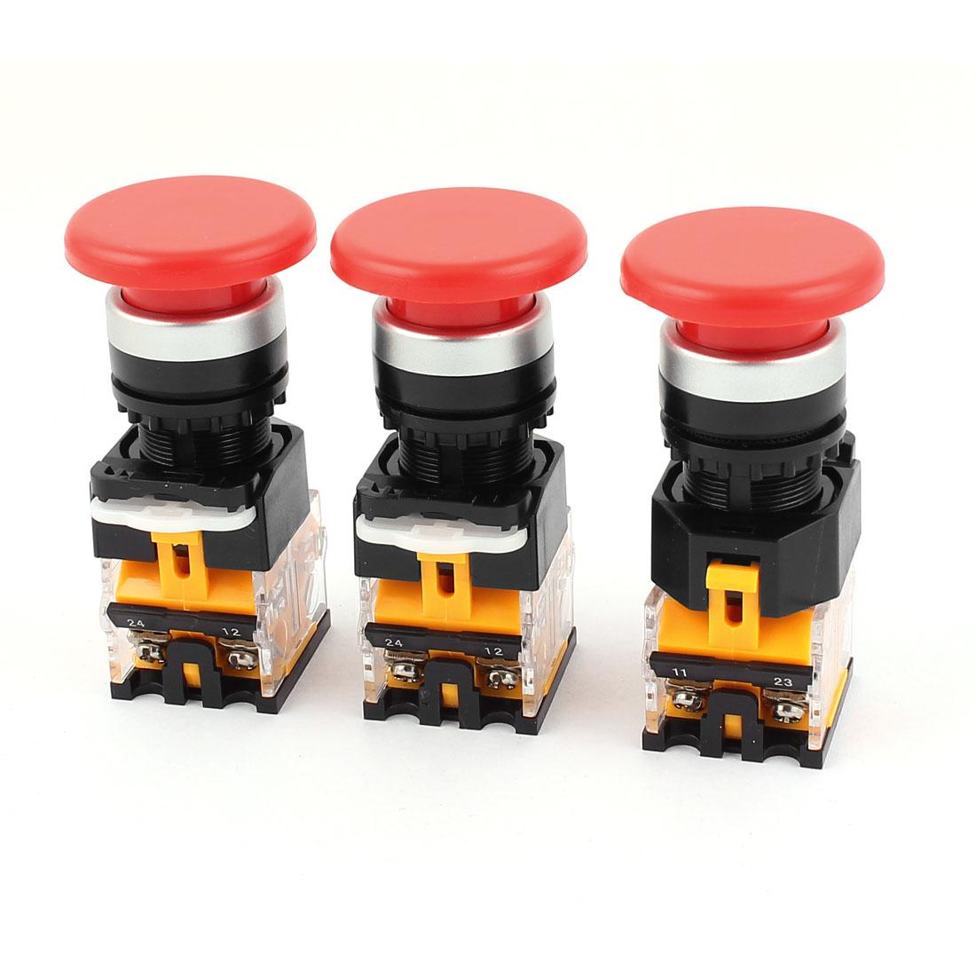 3pcs AC 660V 10A NO/NC 4Pin Mushroom Emergency Stop Red Push Button Switch