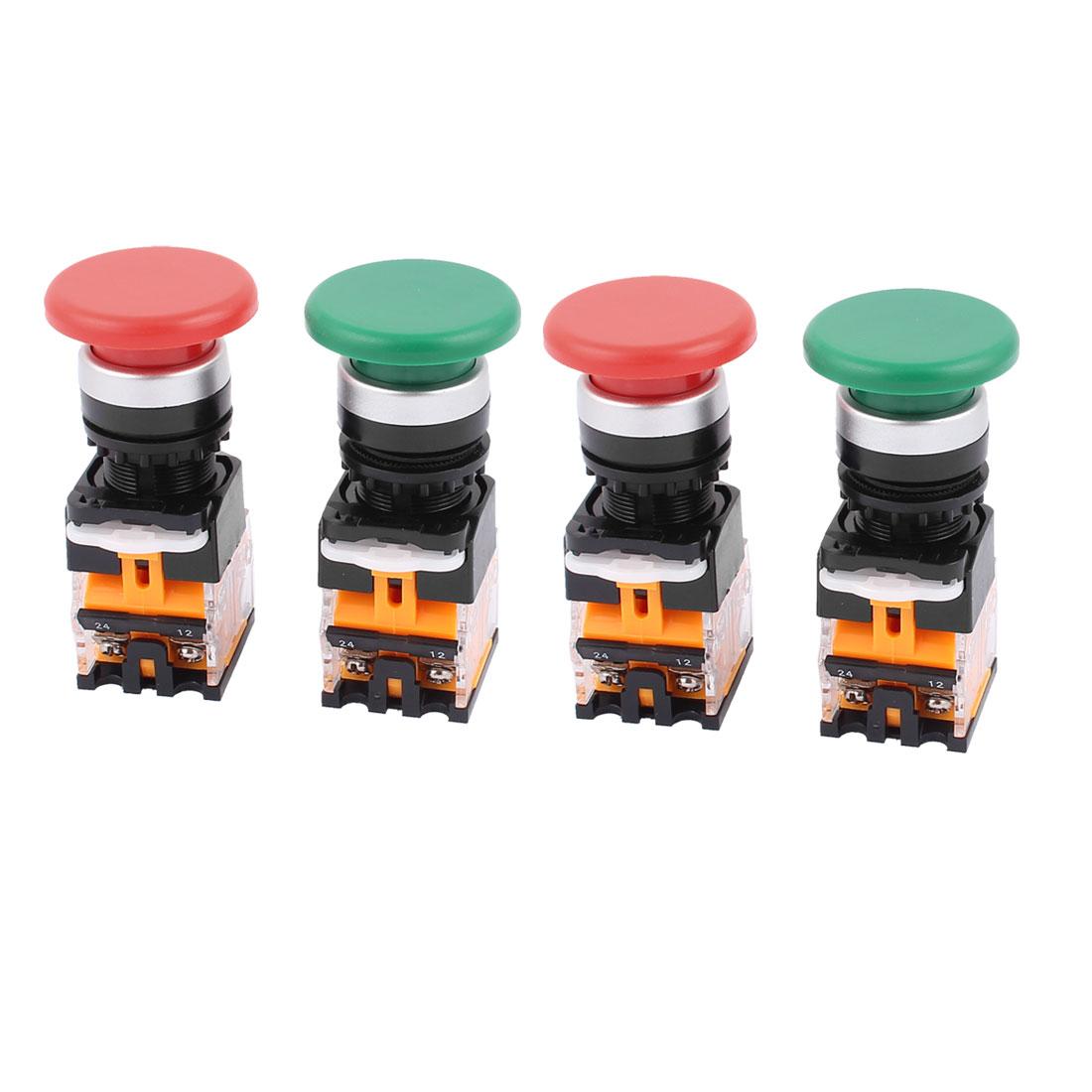 4pcs AC 660V 10A NO/NC 4Pin Mushroom Emergency Stop Red Green Push Button Switch