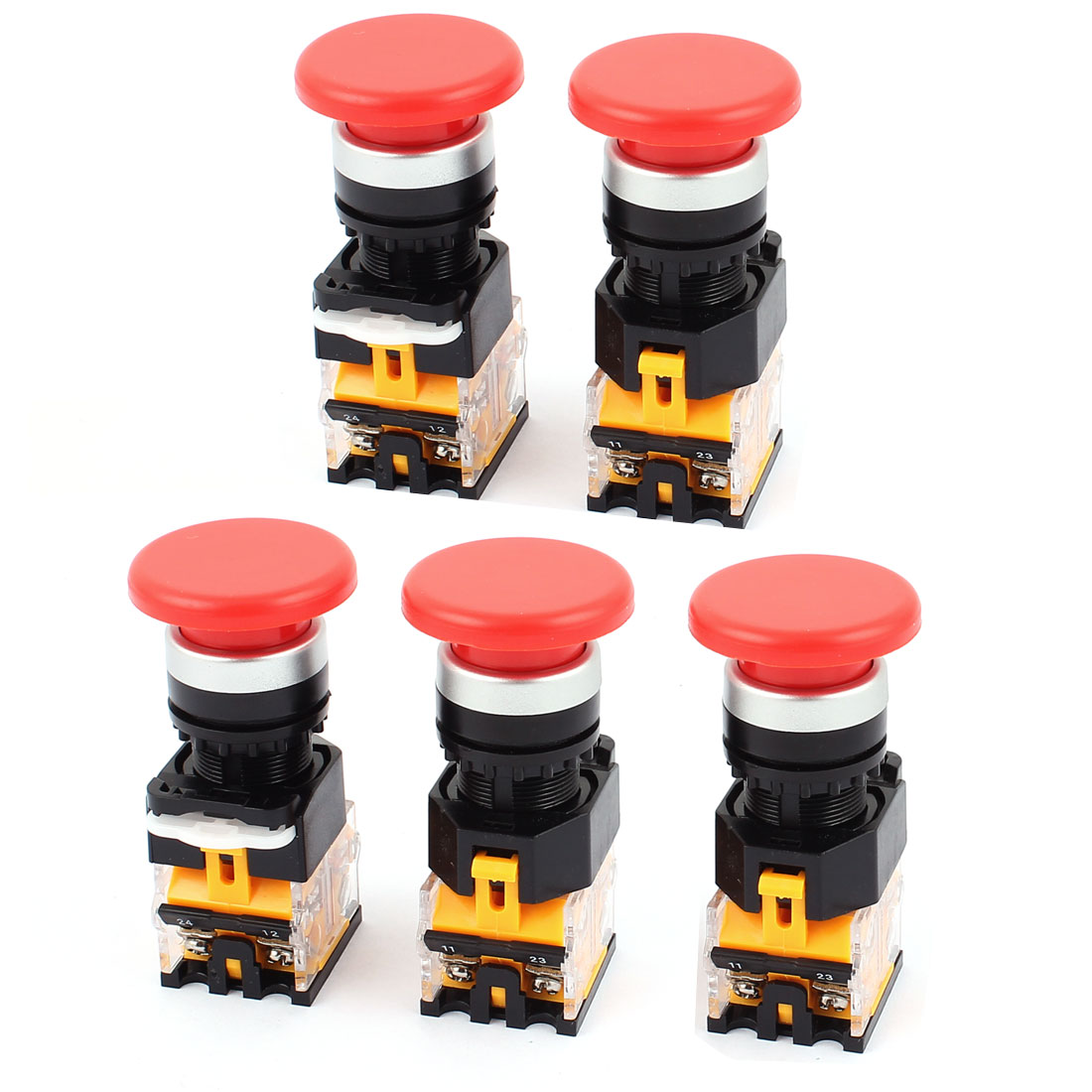 5pcs AC 660V 10A NO/NC 4Pin Mushroom Emergency Stop Red Push Button Switch