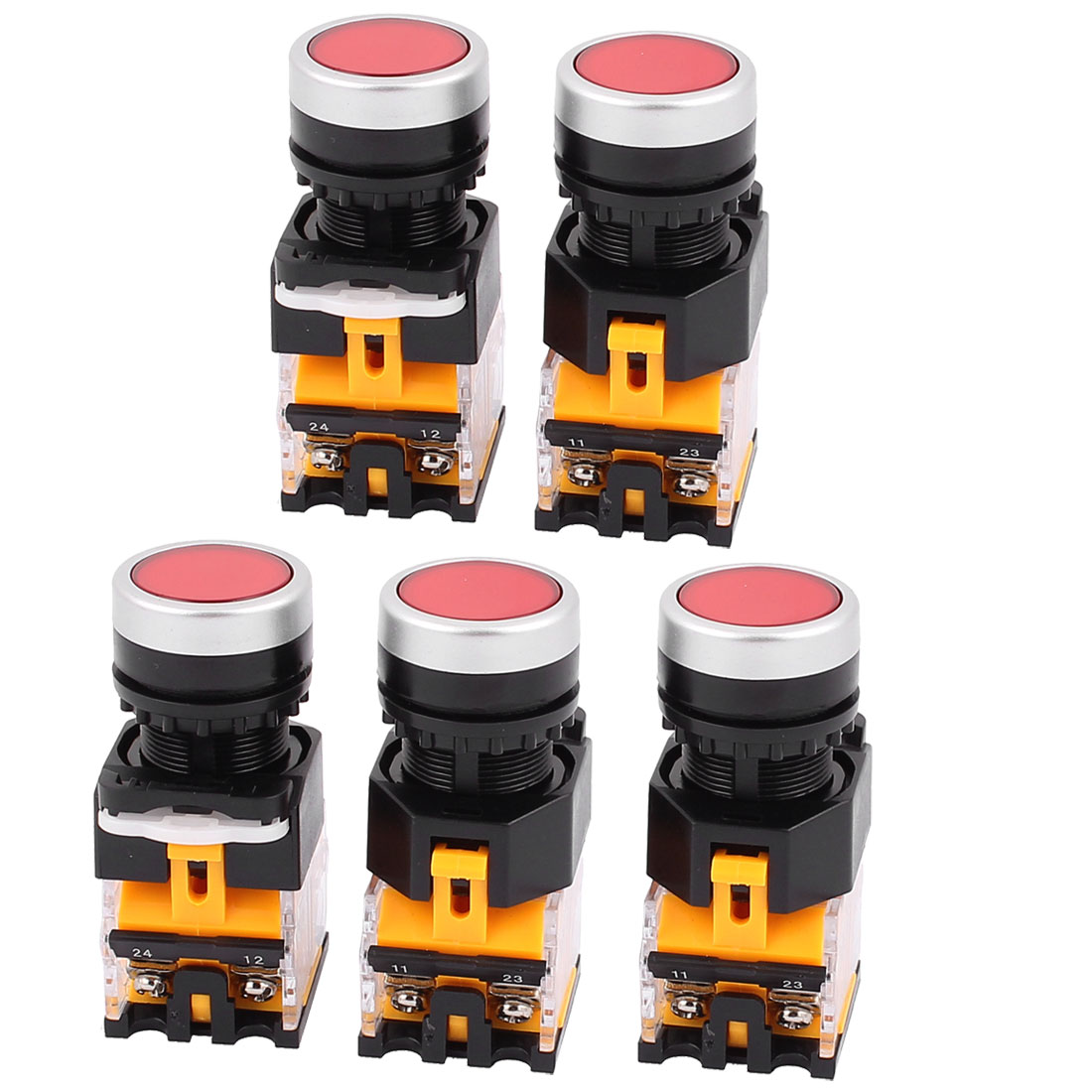 AC 660V 10A NO NC 4-Pin Momentary Red Push Button Switch 5PCS