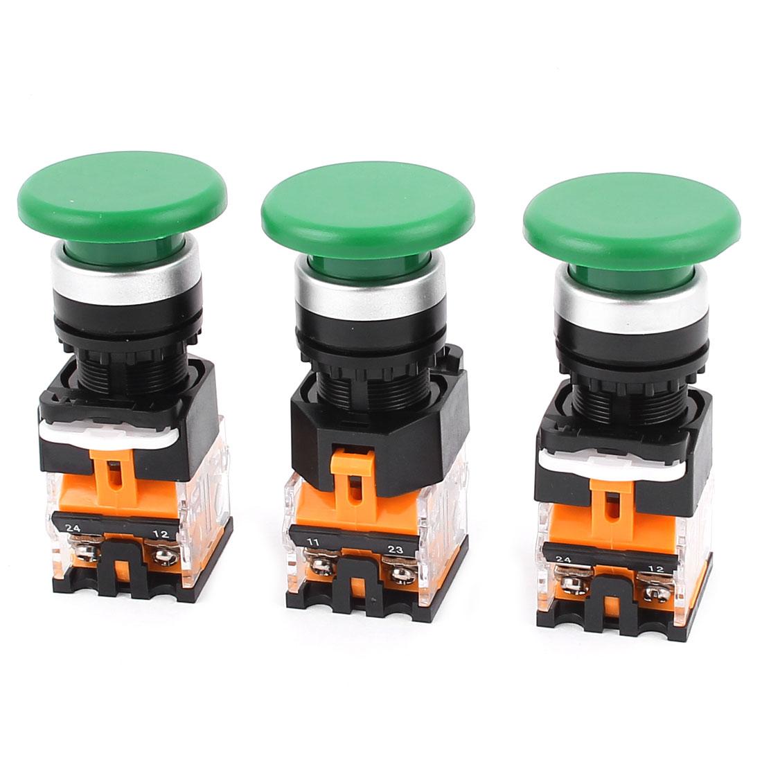 3pcs AC 660V 10A NO/NC 4Pin Mushroom Emergency Stop Green Push Button Switch