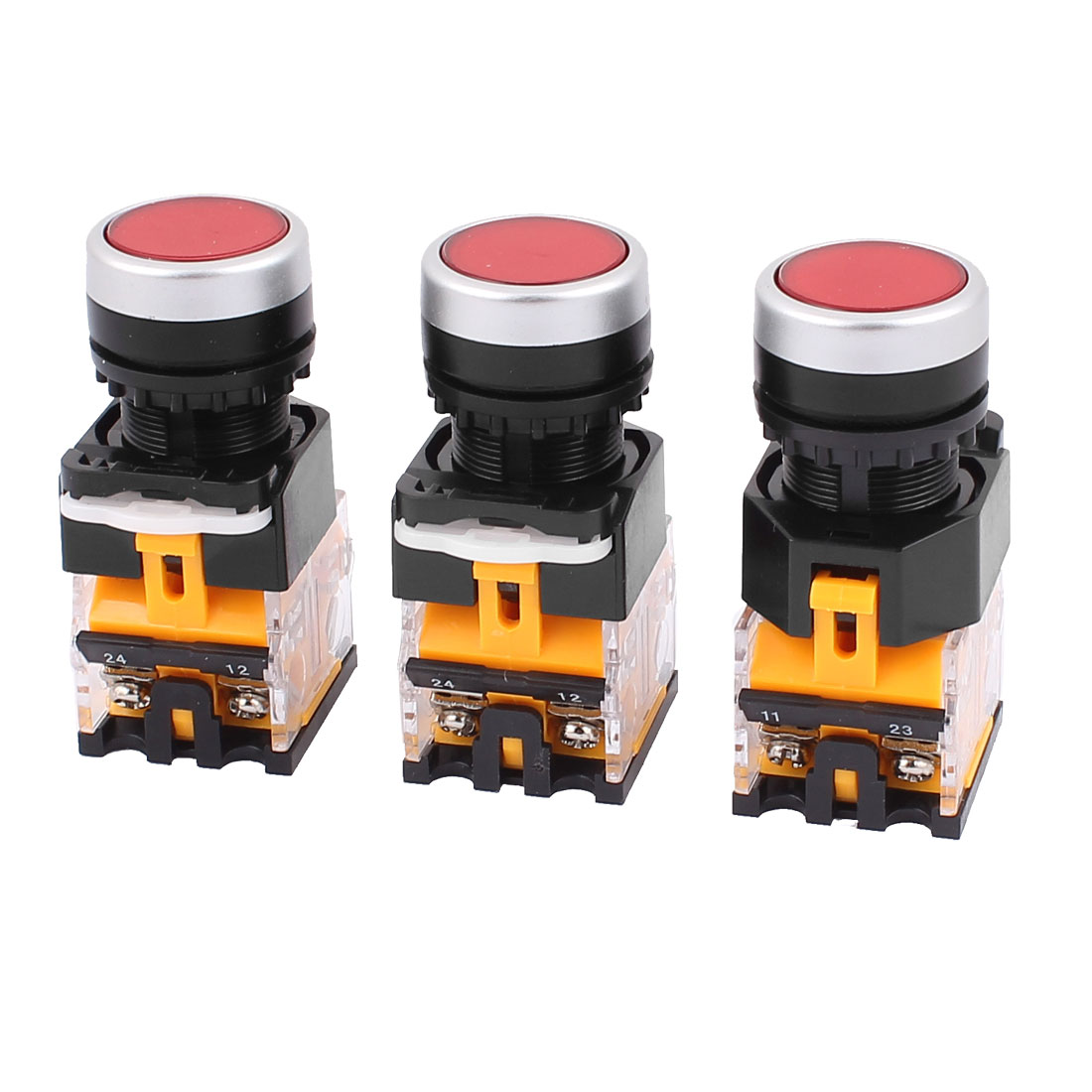 AC 660V 10A NO NC 4-Pin Momentary Red Push Button Switch 3PCS