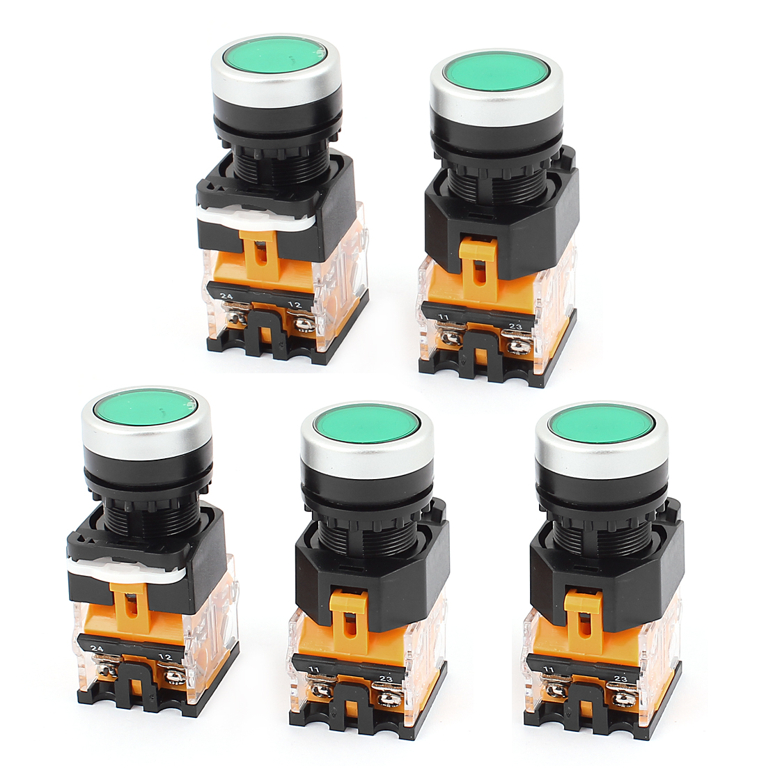 AC 660V 10A NO NC 4-Pin Momentary Green Push Button Switch 5PCS