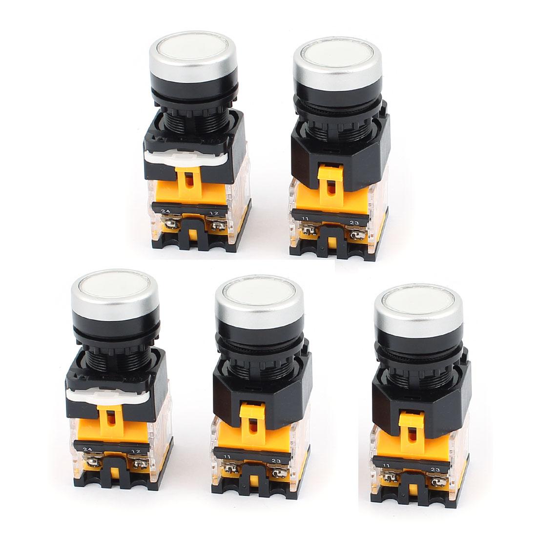 AC 660V 10A NO NC 4-Pin Momentary White Push Button Switch 5PCS