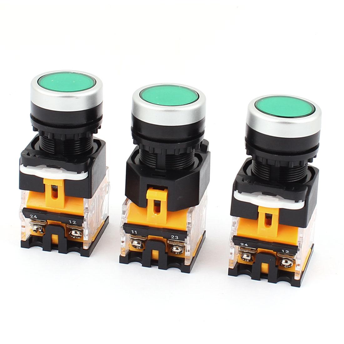 AC 660V 10A NO NC 4-Pin Momentary Green Push Button Switch 3PCS