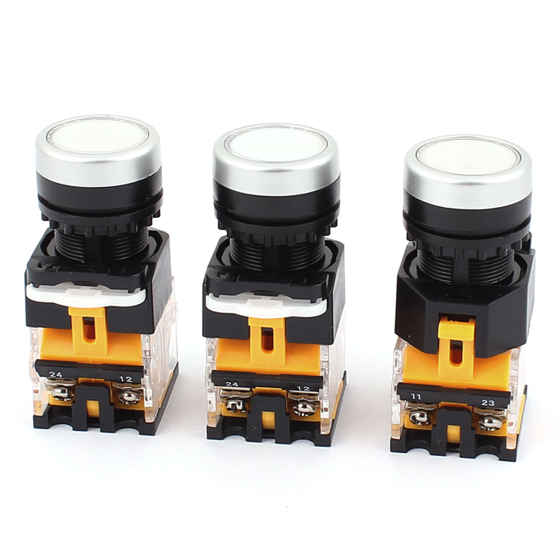 AC 660V 10A NO NC 4-Pin Momentary White Push Button Switch 3PCS