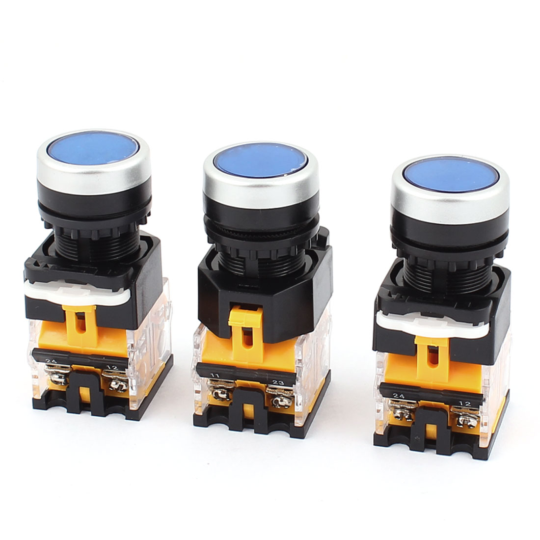 AC 660V 10A NO NC 4-Pin Momentary Blue Push Button Switch 3PCS