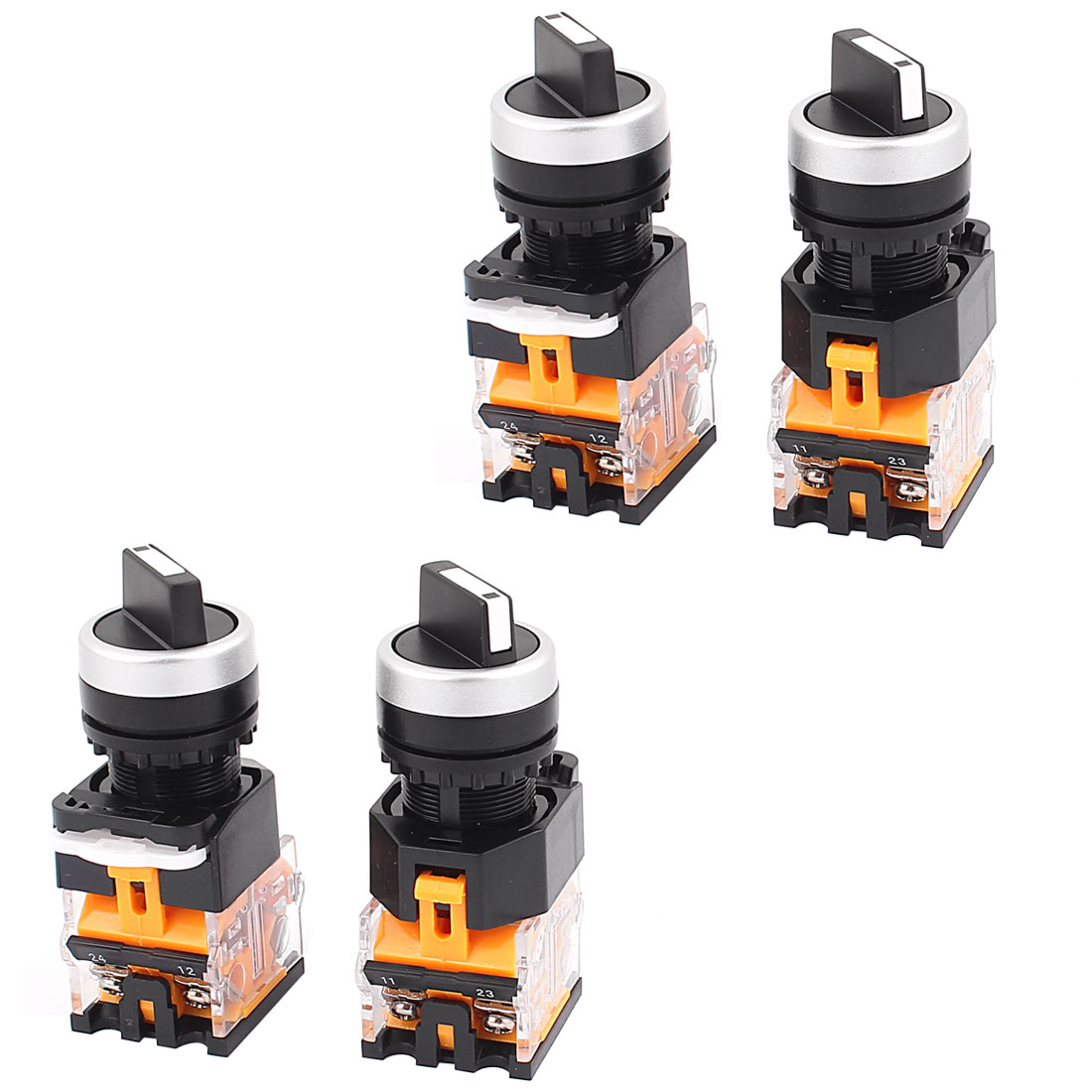 4PCS AC 660V 10A NO/NC 4-Pin DPST 2 Position Rotary Selector Switch