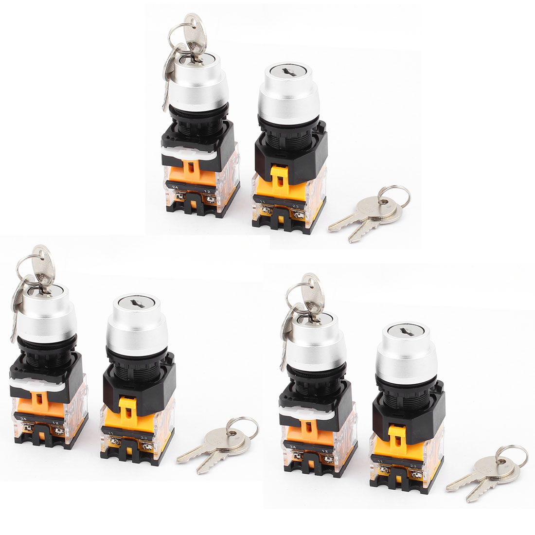 6PCS AC 660V 10A NC NO 2 Position Selector Rotary Switch w Keys