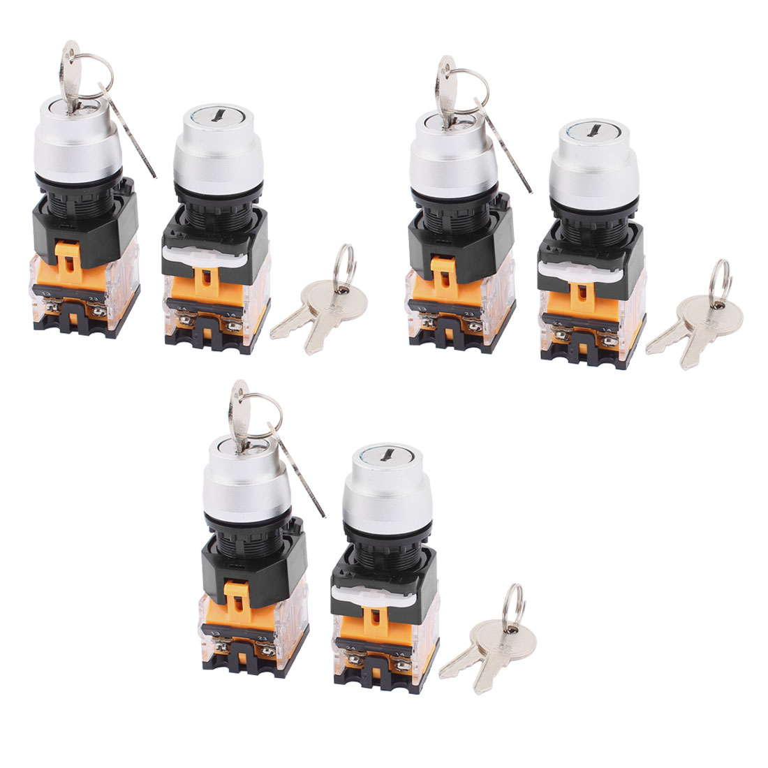 6PCS AC 660V 10A NC NO 3 Position Selector Rotary Switch w Keys