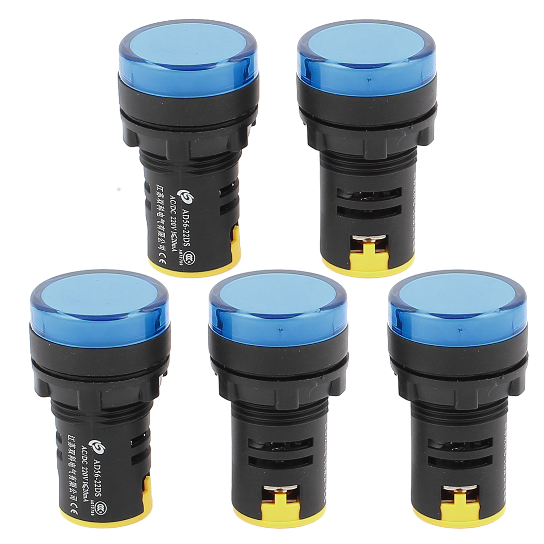 5Pcs AC/DC 220V Energy Saving Blue LED Indicator Pilot Signal Light