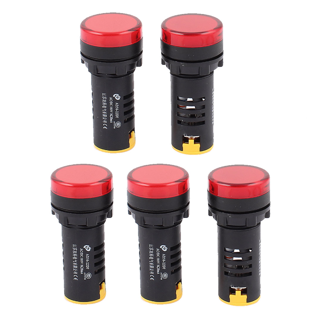 5Pcs AC 380V Energy Saving Red LED Indicator Pilot Signal Light Lamp