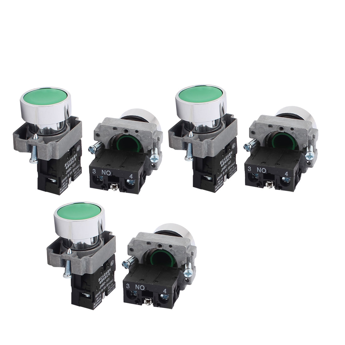 AC 415V 10A Momentary NO Green Push Button Switch Contact Block 6PCS