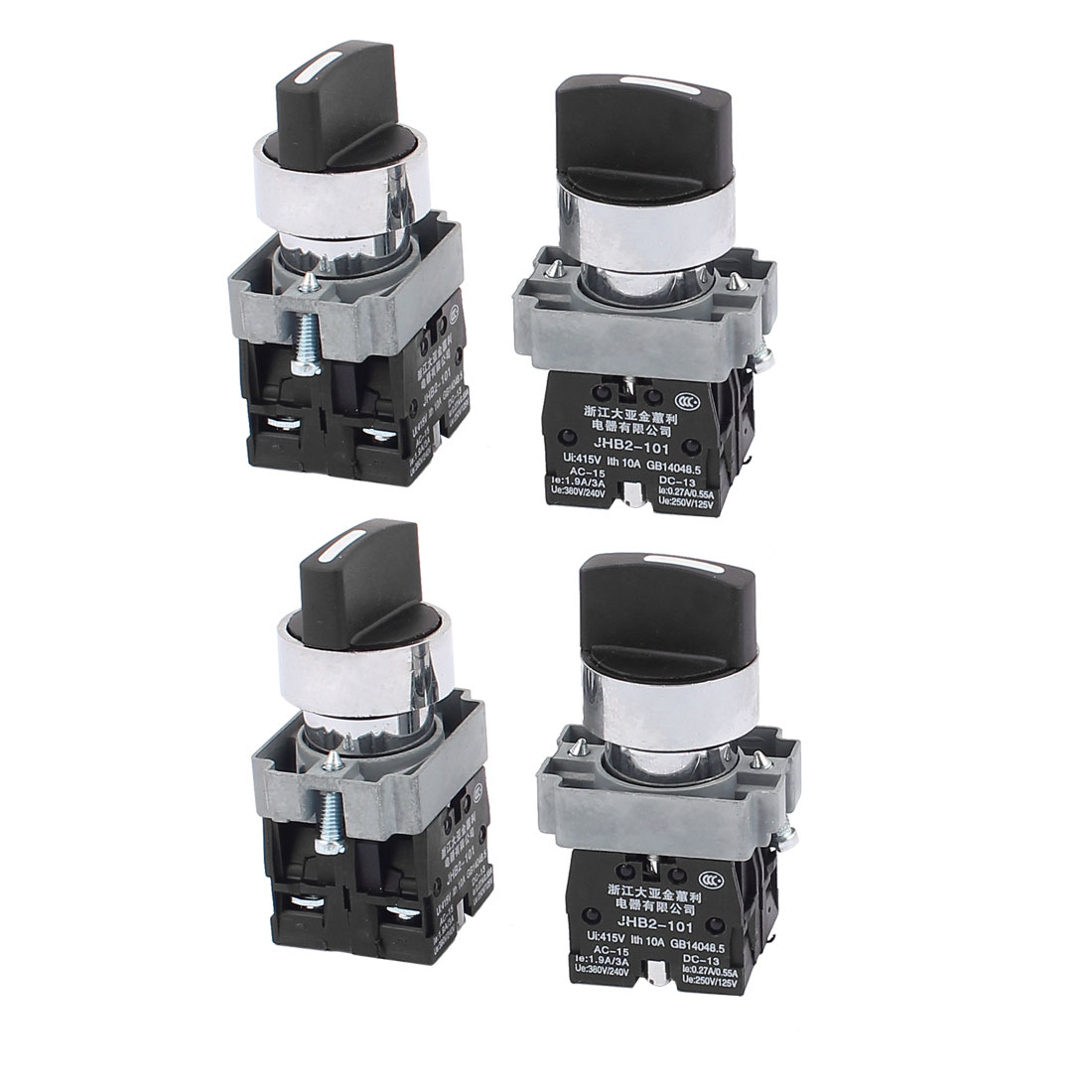 AC 415V 10A Latching 2NO 3 Positions Rotary Selector Switch 4PCS