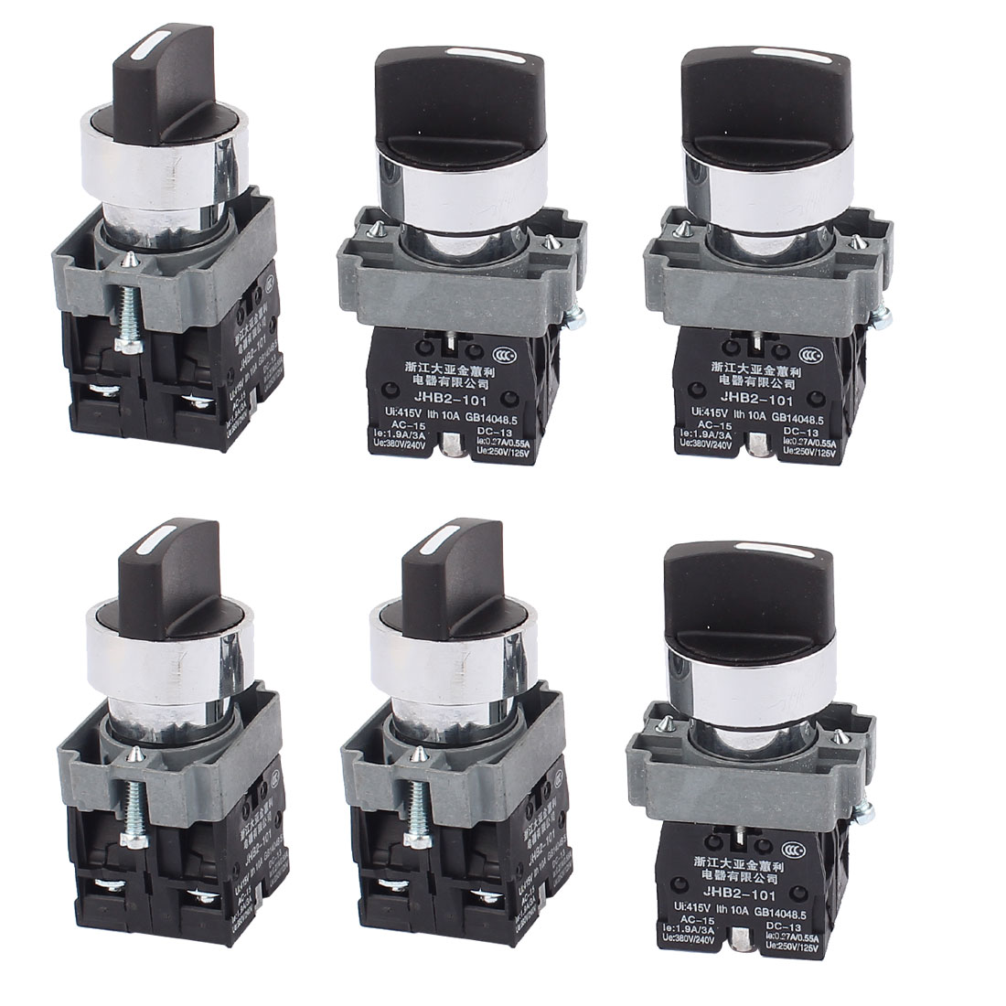 AC 415V 10A Latching 2NO 3 Positions Rotary Selector Switch 6PCS