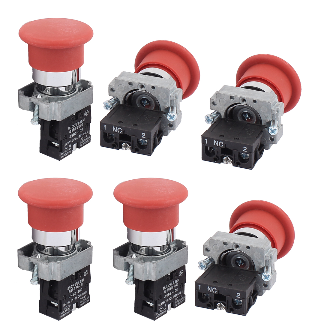 AC 415V 10A Momentary NC Push Button Rotary Switch Contact Block 6PCS
