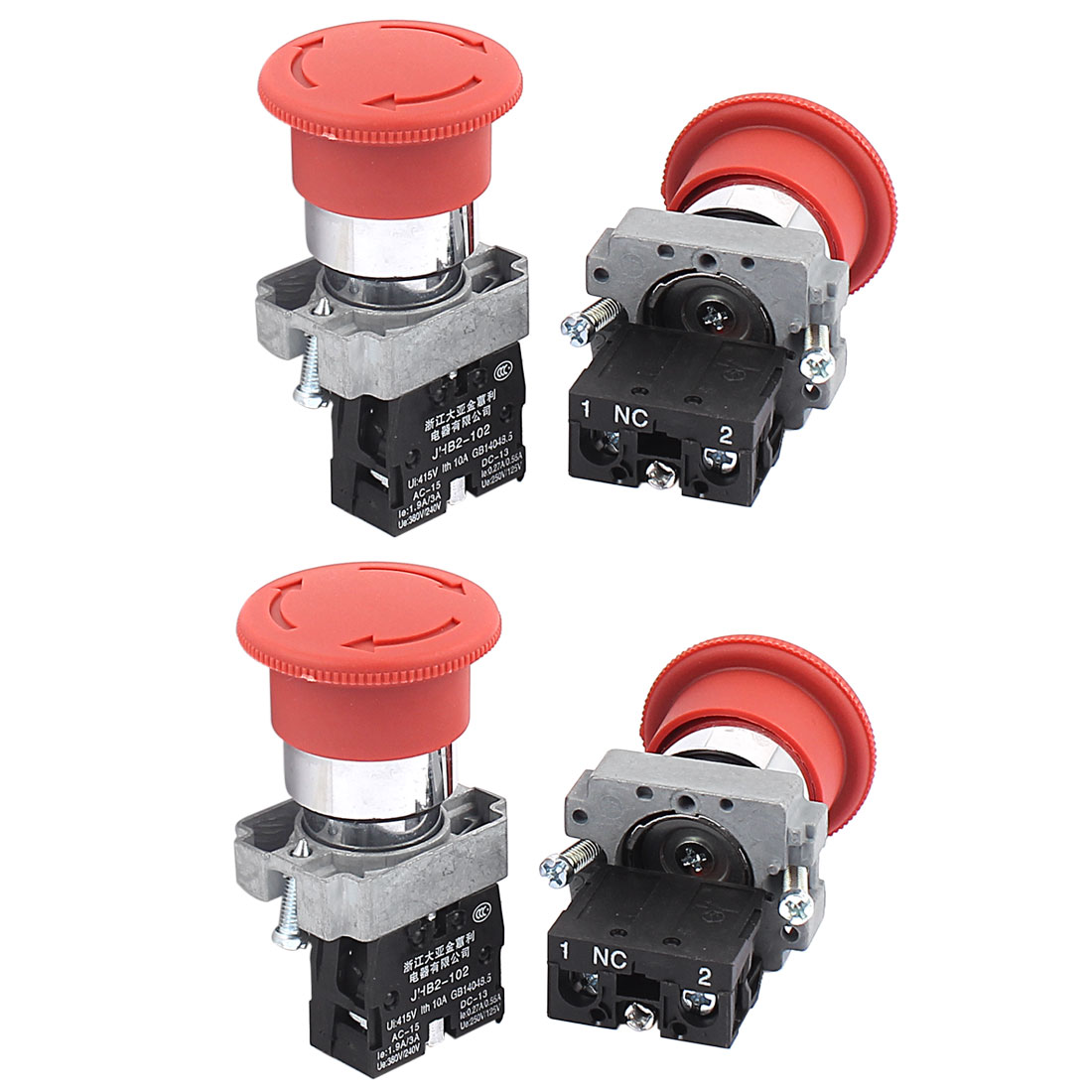 AC 415V 10A Momentary NC Push Button Rotary Switch Contact Block 4PCS