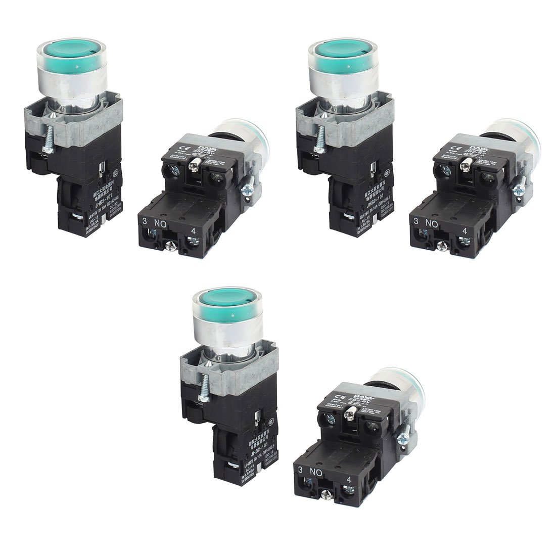 AC 415V 10A Momentary NO Green Light Push Button Switch Contact Block 6PCS