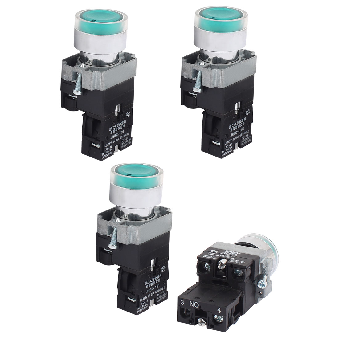 AC 415V 10A Momentary NO Green Light Push Button Switch Contact Block 4PCS