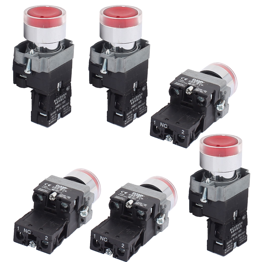 AC 415V 10A Momentary NO Red Light Push Button Switch Contact Block 6PCS