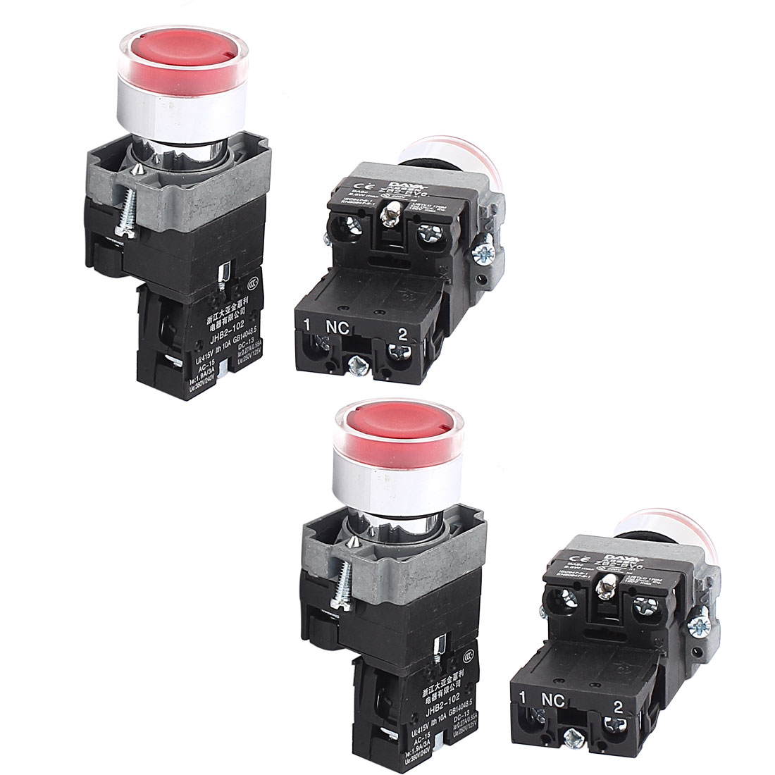 AC 415V 10A Momentary NO Red Light Push Button Switch Contact Block 4PCS