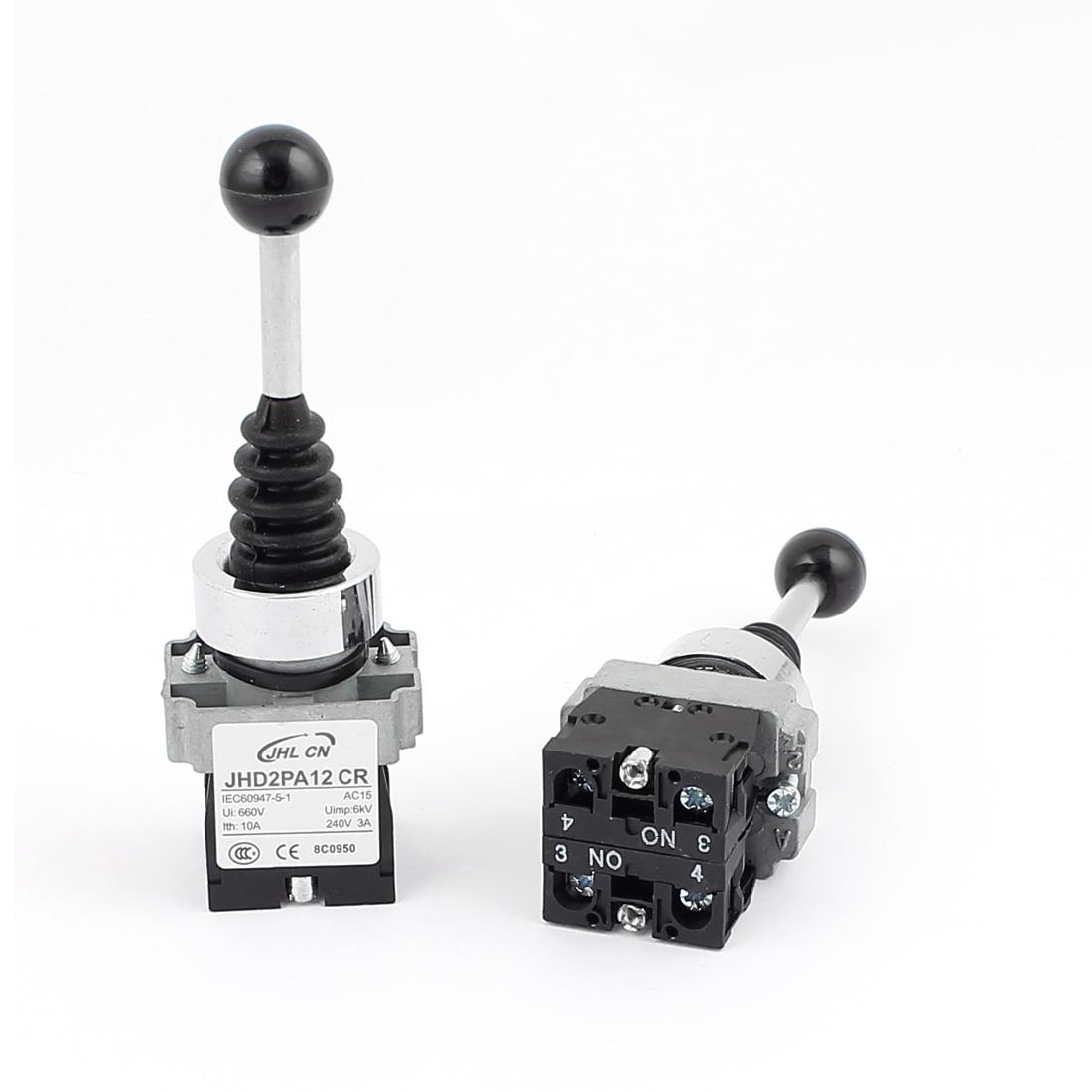 2PCS DPST 2NO Straight 2 Directions Latching Monolever Joystick Switch AC 600V