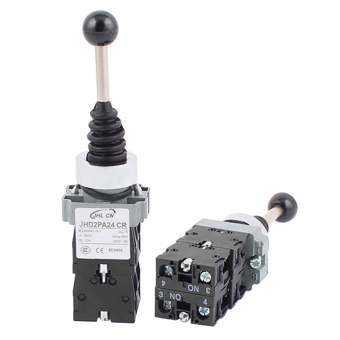 2PCS 3PDT 4NO Straight 4 Directions Momentary Monolever Joystick Switch AC 600V