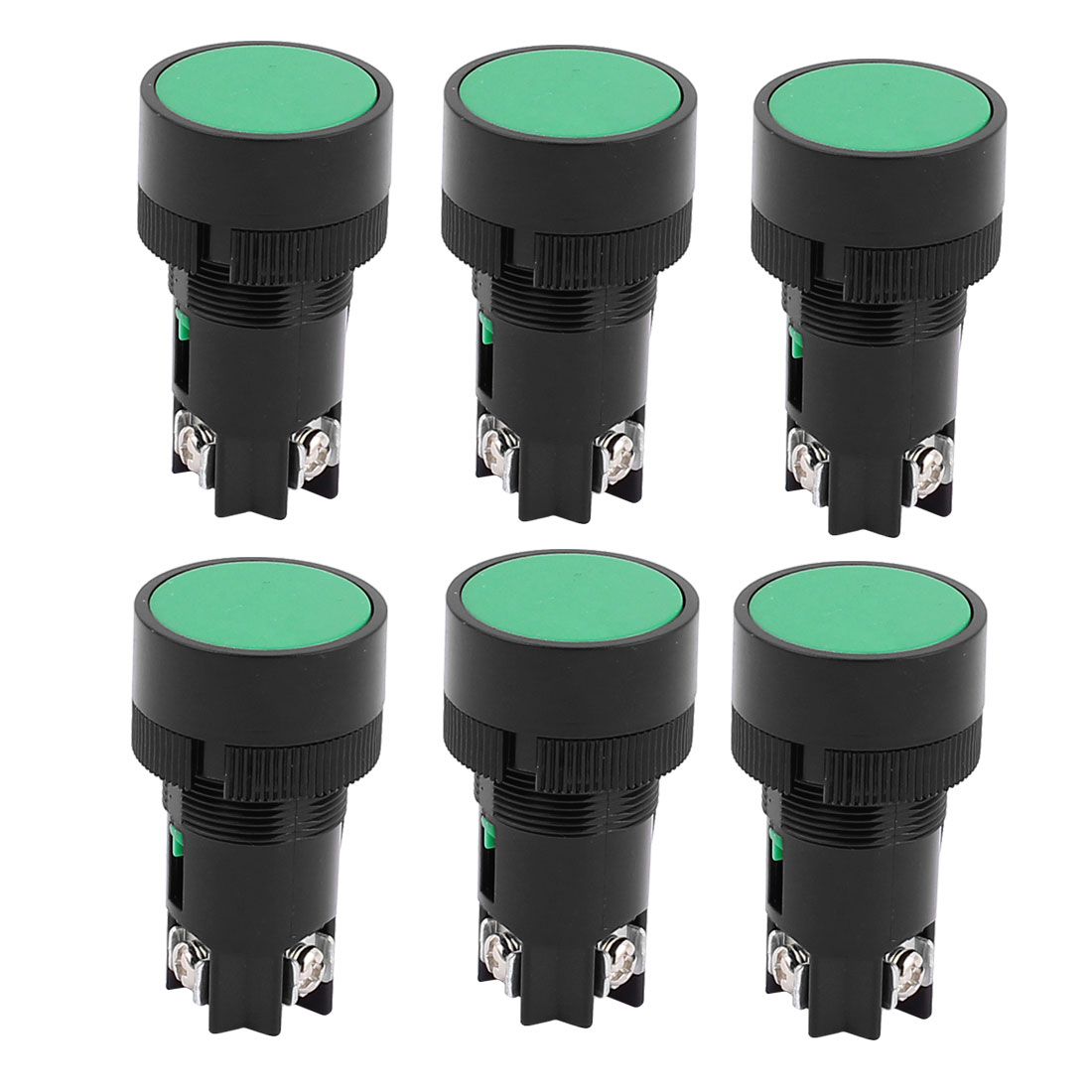 AC 220-250V 3A Panel Mounting 3 Terminal Green Push Button Switch 6PCS