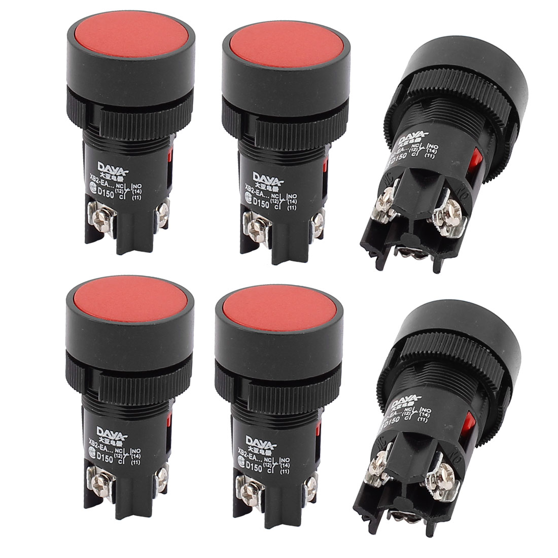 AC 220-250V 3A Panel Mounted 3 Terminals Red Push Button Switch 6PCS