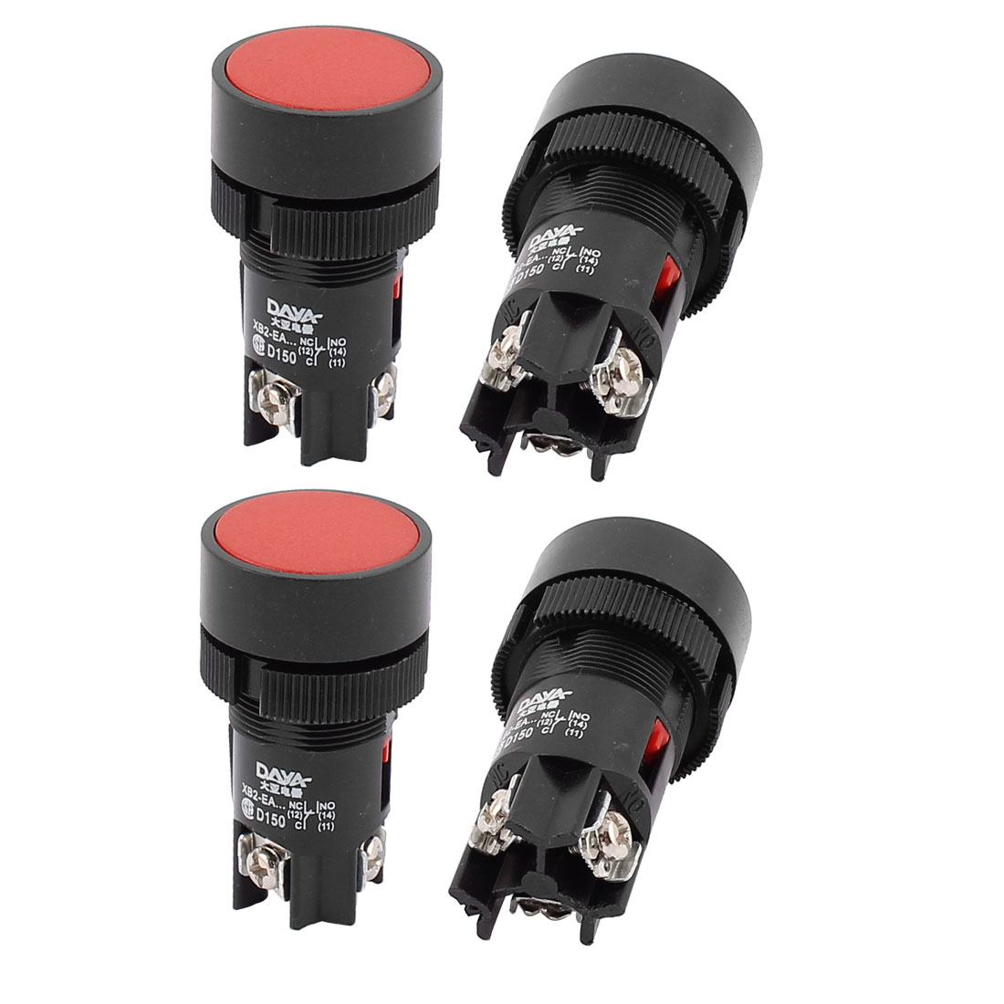 AC 220-250V 3A Panel Mounting 3 Terminal Red Push Button Switch 4PCS