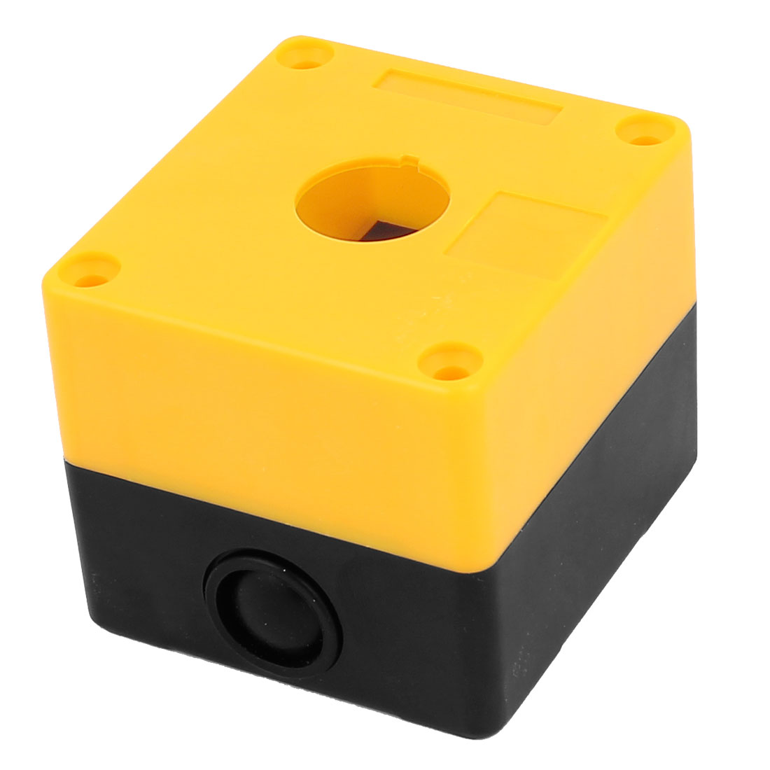 Plastic Yellow Black 1 Hole Push Button Control Station Switch Box