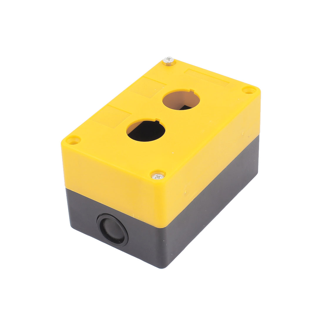 Plastic Yellow Black 2 Holes Push Button Control Station Switch Box