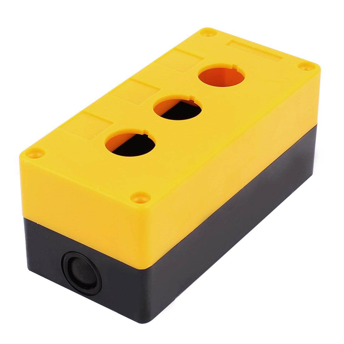 Plastic Yellow Black 3 Holes Push Button Control Station Switch Box