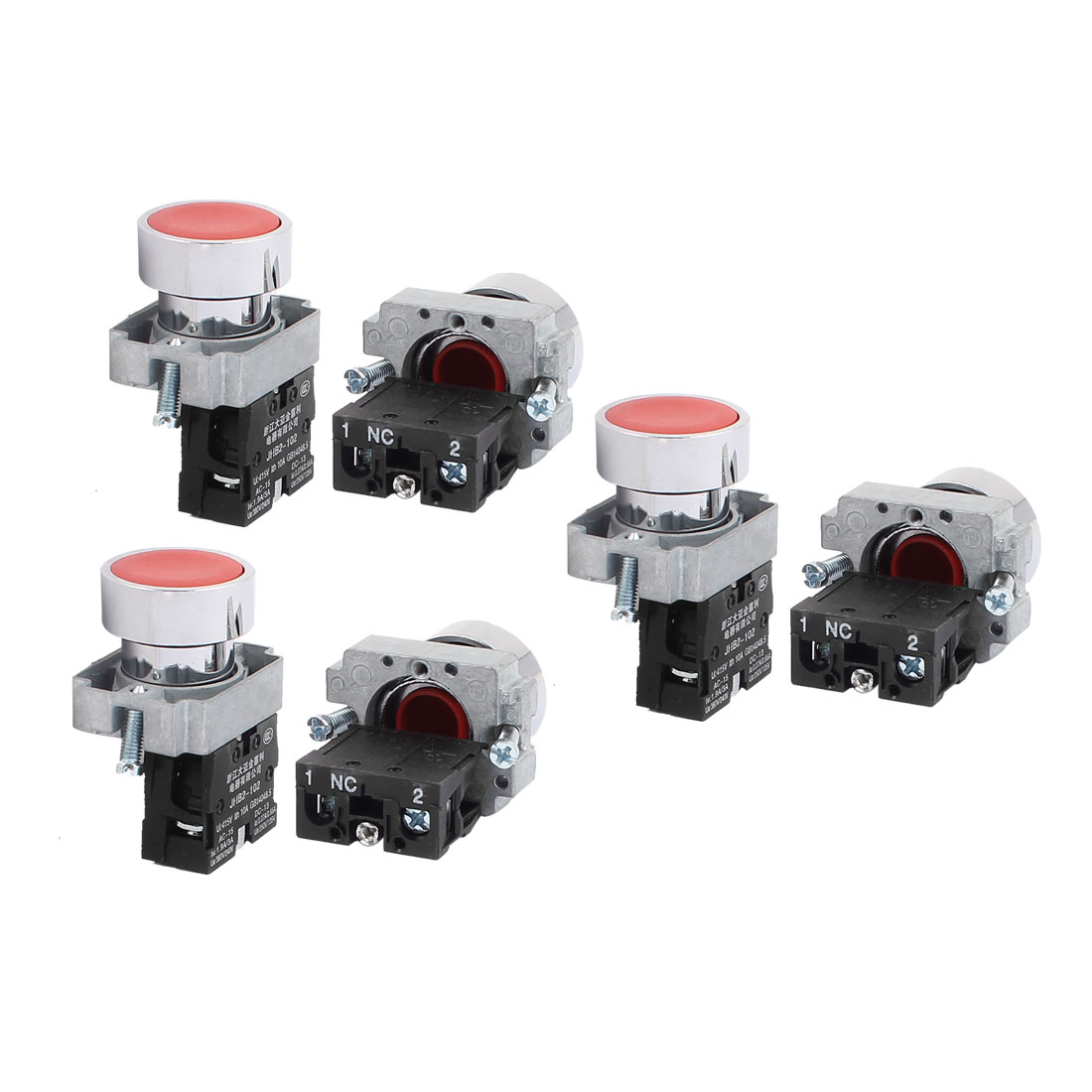 AC 415V 10A Momentary NO Red Push Button Switch Contact Block 6PCS