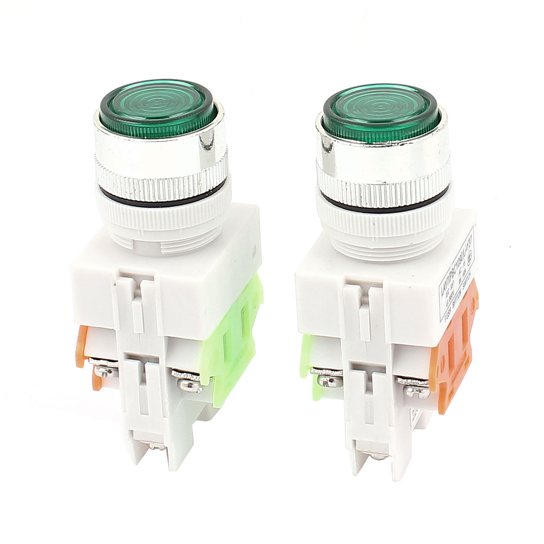 AC 660V 10A NO NC 4-Pin Momentary Green Push Button Switch 5PCS