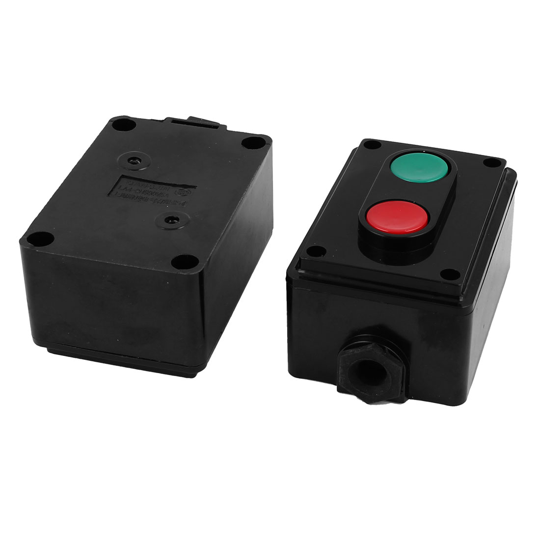 AC 500V 5A NO Momentary Red Green 2 Push Button Switch Station 2pcs