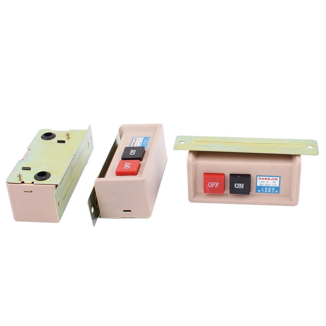 AC 220V/380V 10A ON/OFF 2 Positions Push Button Switch LAK-10 3PCS