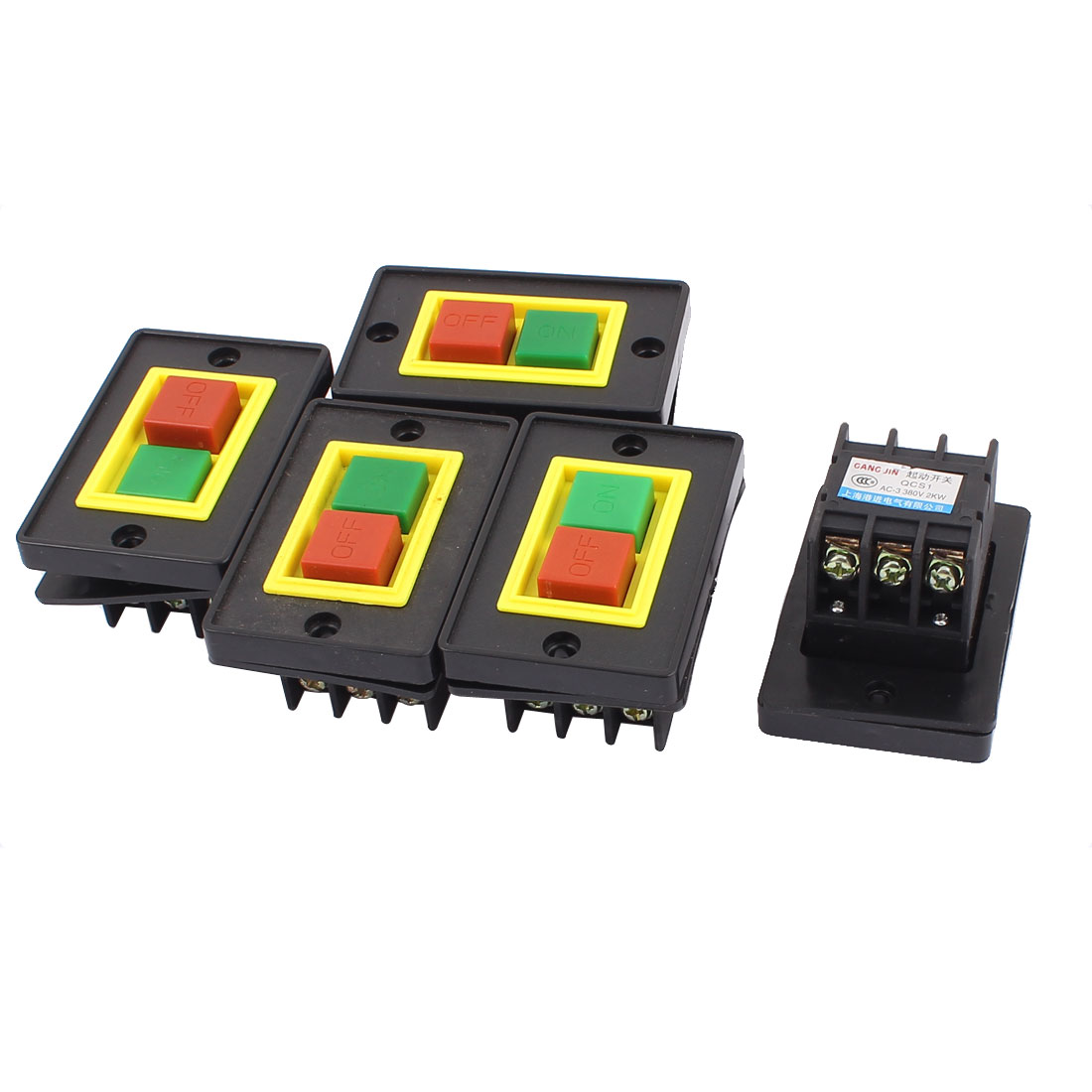 AC 380V 2KW Panel Mount ON/OFF Latching Square Push Button Switch 5pcs