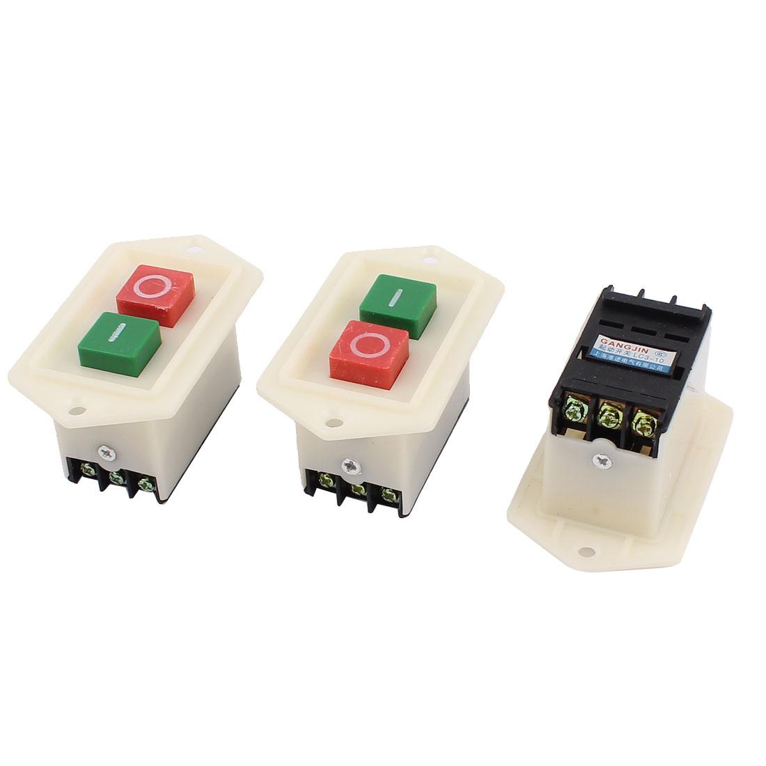 AC 220/380V 10A O/I Start Stop Self-Locking Push Button Switch 3pcs