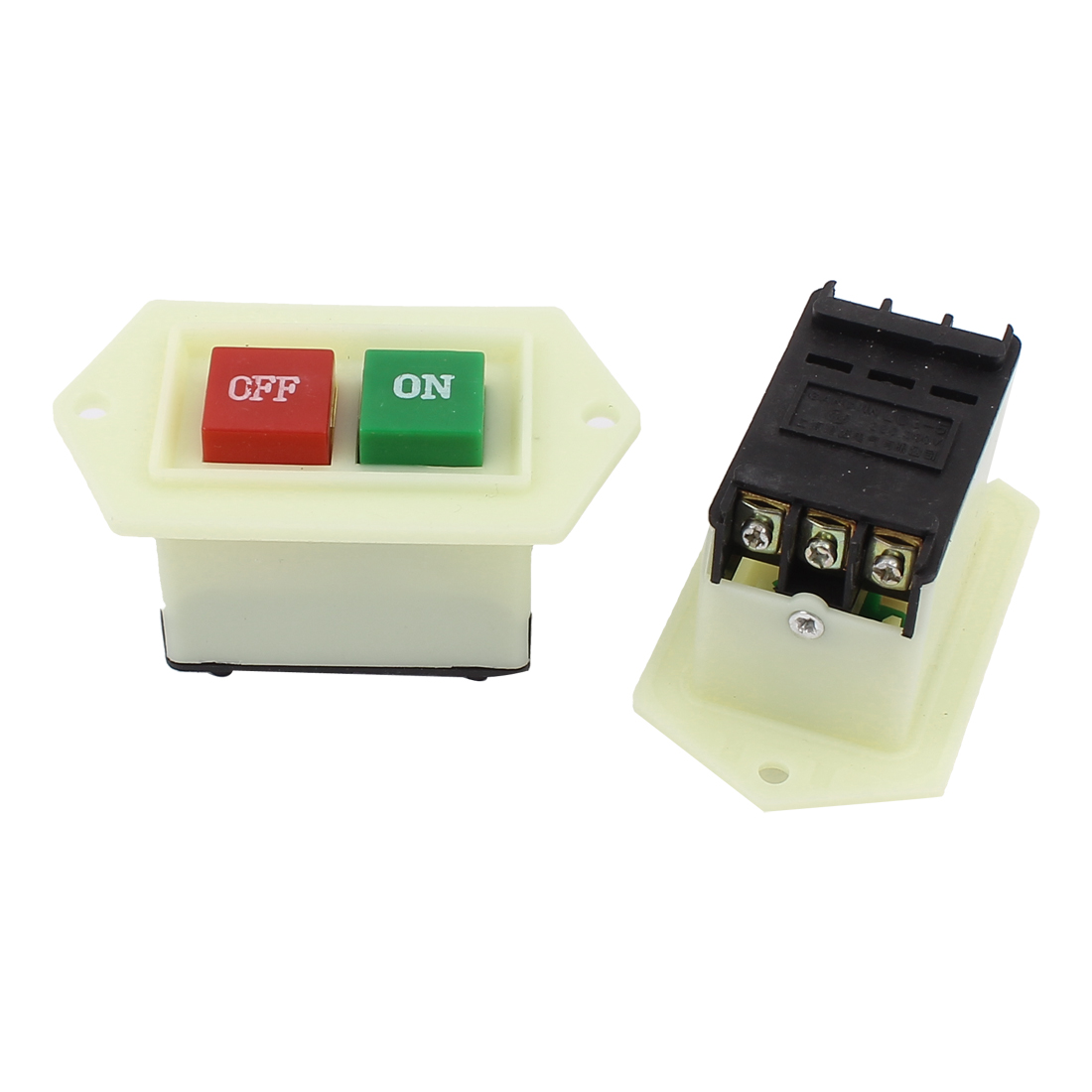 AC 220V/380V 5A 3 Phase Self-Locking ON/OFF Push Button Switch 2PCS