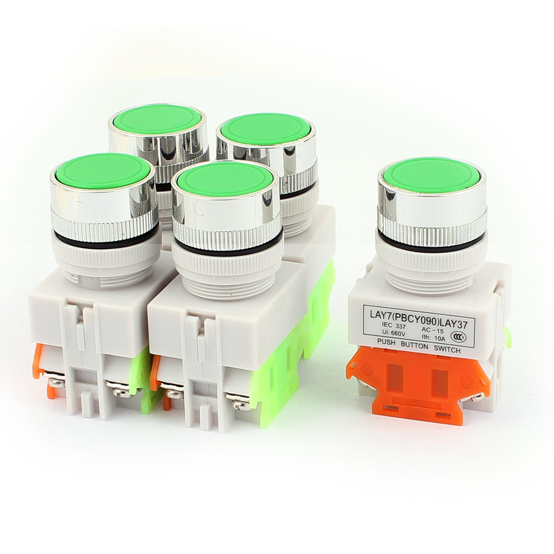 5PCS AC 660V 10A 1NO 1NC DPST 4 Terminals Momentary Push Button Switch