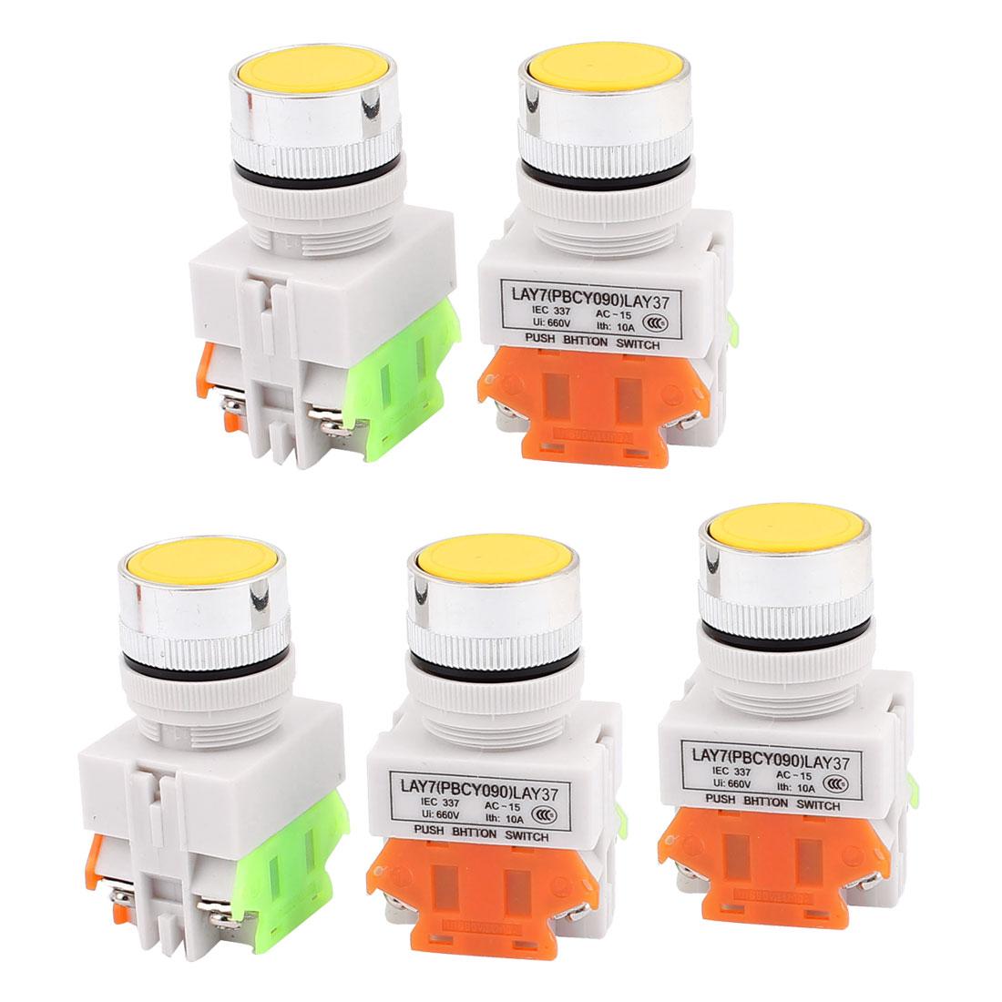 5PCS AC 660V 10A 1NO 1NC DPST 4-Pin Yellow Push Button Switch