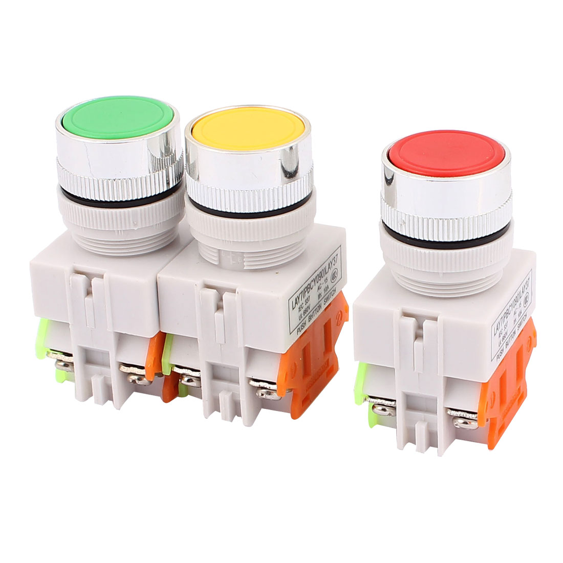 3PCS AC 660V 10A 1NO 1NC DPST 6-Pin Momentary Push Button Switch