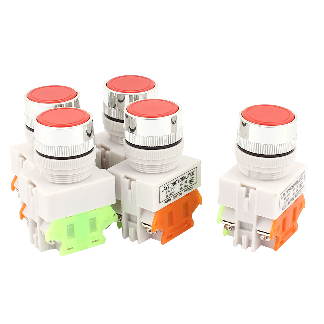 5PCS AC 660V 10A 1NO 1NC DPST 4Pin Self-Locking Red Push Button Switch
