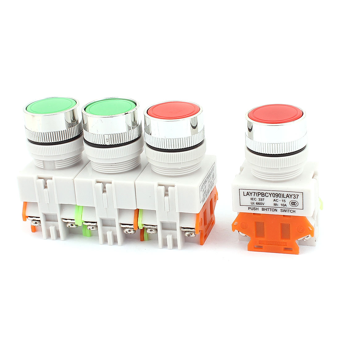 4PCS AC 660V 10A 1NO 1NC DPST 4 Terminals Lacthing Push Button Switch