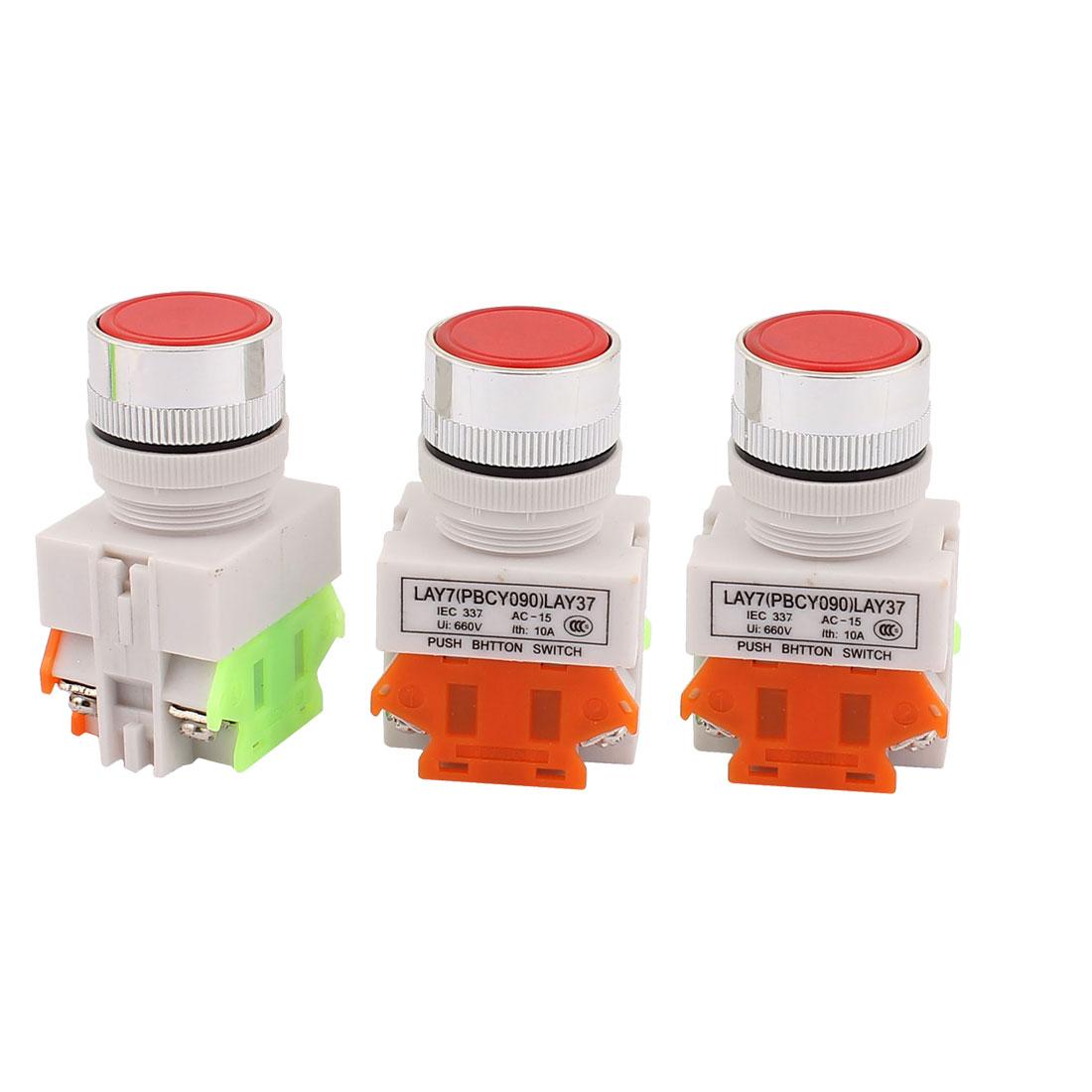 3PCS AC 660V 10A 1NO 1NC DPST 4Pin Self-Locking Red Push Button Switch