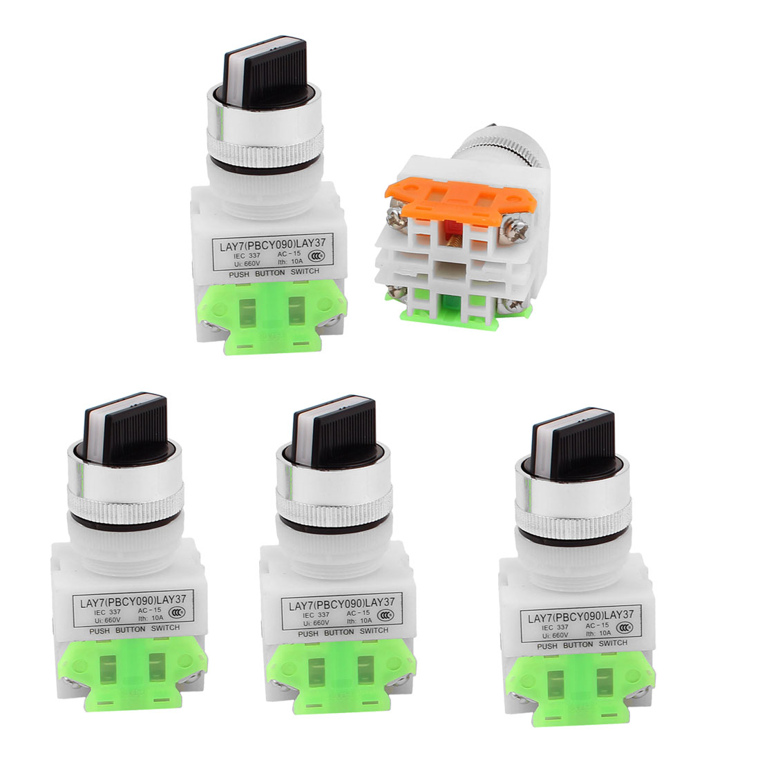AC 660V 10A NO/NC DPST 2 Position Latching Selector Rotary Switch 5PCS